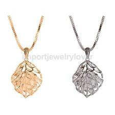 Fashion Hollow Out Leaf Pendant Necklace with Crystal Inside Sweater Chain