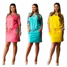 Women Half Sleeve Floral Dress Evening Party Cocktail Plus Size Casual Dress New