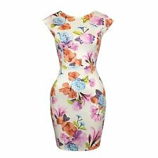 Womens Floral Print Cut Out Bow Knot Back Stretch Bodycon Ladies Party Dress