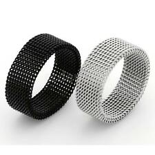 Men 316L Stainless Steel Flexible Mesh Link Chain 8mm Band Ring Silver Black