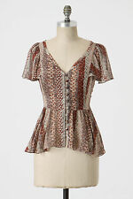 Anthropologie Marching Annuals Blouse Sz 8 & 12, Silk Buttondown Top By Odille
