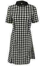 Womens Ladies Dog Tooth Swing Dress Printed Contrast Peter Pen Collared Tunic
