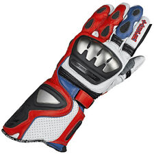 Held Titan Leather Motorcycle Race Glove - White / Red / Blue