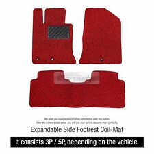 Premium Expandable Side Foot Rest Floor Coil Mats Pad Cover Red for HYUNDAI Car
