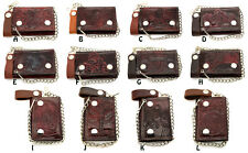 Biker Chain Wallet Genuine Leather Tri Fold Brown/Red 12 Designs Made in USA