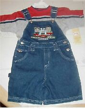 THOMAS THE TANK TRAIN - EMBROIDERED DENIM SHORT OVERALLS SIZE 5 **NWT** USA!!