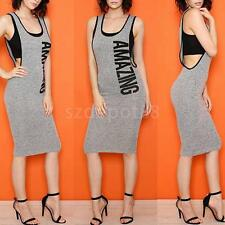 Women U Neck Sleeveless AMAZING Letters Print Party Bodycon Sexy Cocktail Dress