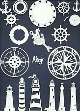 LOTS 5-22 PCS. NAUTICAL DIE CUTS* SUB-SETS LIGHTHOUSE COMPASS WHEEL *READ POST