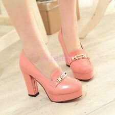 New Sweet Ladies High Thick Heel Round Toe Slip On Pumps Wedding Shoes Plus Size