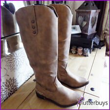 Knee high womens cowboy boots Embroidered Stitching Metalic Taupe Ladies sizes