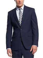 Kenneth Cole Slim Fit Navy Blue Pinstriped Two Button Wool Suit With Peak Lapels