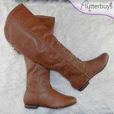 Womens Camel knee high boots Low Flat Heel Faux Fur Lined Ladies Sizes