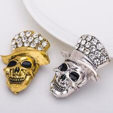 Halloween Skull Brooch Pin Clear Crystal Women Party Gift Hollaween Jewelry