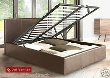 Ottoman King Size Storage Bed Upholstered in Faux Leather,5ft, Black White Brown