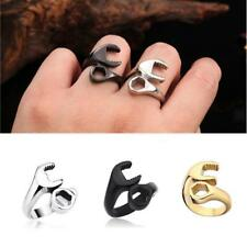 Fashion Mens Punk Gothic 316L Stainless Steel Biker Mechanic Wrench Ring Jewelry