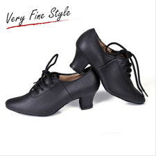Latin Dance Shoes Black Ballroom Cattlehide Women Modern Salsa Tango Dance Shoe