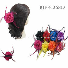 6pcs Flower Jaw Hair Clip Pin Claw Double Sided Style Petals Feathers Bling Lots