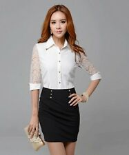Hot Sexy Womens Chiffon Tops Slim OL Professional Blouses Lace Shirt classic