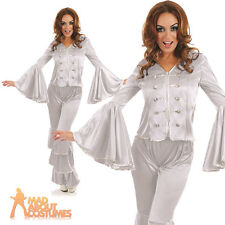 Dancing Queen Costume Silver 1970s Ladies Fancy Dress Outfit New