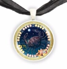 """Cancer the Crab Illustration 1"""" Zodiac Pendant Necklace in Silver Tone"""
