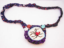 OOAK Hand made recycled sari silk spider necklace. Unique, only x1 made!