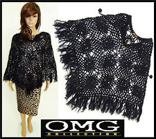 Womens New Ladies Cable Knitted Black Poncho Jumper Top Cape Size/ 8 10 12 14 16