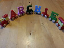 Personalised gift wooden train letters boy girl christening birthday gift