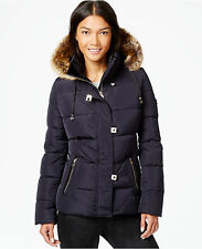 NWT Calvin Klein Faux-Fur-Trim Down Puffer Coat $300  Navy
