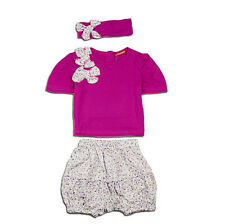 New Baby Children Kid Girl Flower Tops+Pants+Hat 3PC set Outfit Clothing