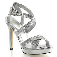 Fabulicious LUMINA-21 Shoes Silver Glitter Sexy Open Toe Criss Cross High Heels