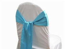 LOT OF Turquoise Satin Chair Sash Bow Band Wedding Banquet Decoration...FREE S&H