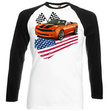 AMERICAN CAR  CAMARO INSPIRED  - BLACK SLEEVED BASEBALL SHIRT S-M-L-XL-XXL