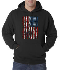 American Flag Distressed Tattered Vintage USA Patriot Pullover Hoodie S-3XL
