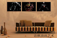 Original Oil Painting HD Print Wall Decor Art on Canvas,Iron Man (Unframed) 3PCS
