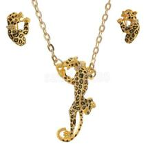 Crystal Jaguar Cheetah Tiger Leopard Pendant Necklace And Earrings Jewelry Set