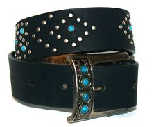 Roper® Girls Black or Brown Leather Belts w/Turquoise Beads and Silver Brads