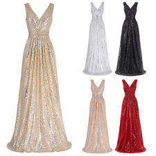 Sexy Sequins Long Evening Dress Wedding Party Cocktail Prom Formal Pageant Gowns