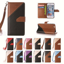 Luxury PU Leather Color Stitching Case Cover & Hand Rope for Apple iPod Touch 6