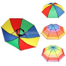 Fishing Hiking Golf Beach Foldable Headwear Parasol Sun Rain Umbrella Hat Cap