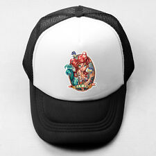 Little Mermaid Greek Siren Plain Trucker Baseball Cap Solid Mesh Curve Visor Hat