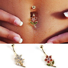 Leaf Flower Body Piercing Dangle Crystal Navel Belly Button Bar Barbell Rings