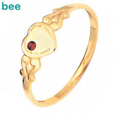Ruby 9ct 9k Solid Yellow Solid Gold Signet Scroll Heart Ring Size 4.5-7.25