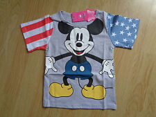 BOYS MICKEY MOUSE AMERICAN STYLE STARS & STRIPES T-SHIRT AGE 1-6 YEARS -  NEW