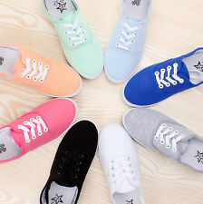 Women Girls Canvas Beauty Plimsoll Shoes Sneakers lace Up Sizes 5-8.5 11 Colors