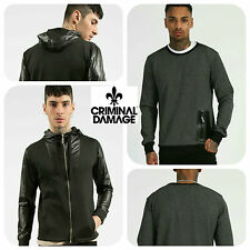 Mens Designer Criminal Damage London Jumper Top Sweatshirt Hooded Sweater Trendy