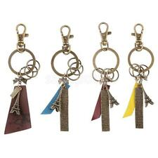 Paris Eiffel Tower Shaped Charm Alloy Key Ring w/ Bronze Lobster Clasp Keychain