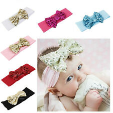 Lovely Baby Girls Kids Children Sequined Bow Headband Hair Band Bling Headdress