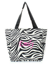 Personalized Zebra Black Tote Beach Bag Diaper Bag FREE Monogram Embroidery Name