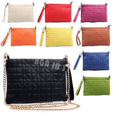 Ladies Faux Leather Quilted Clutch Party Wedding Womens Cross Body Bag