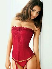 FREDERICKS OF HOLLYWOOD DREAM CORSET SZ 38 MATCHING G STRING RED WHITE SALE$$